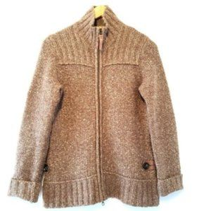Lole Brown High Neck Open Front Sweater Size Large